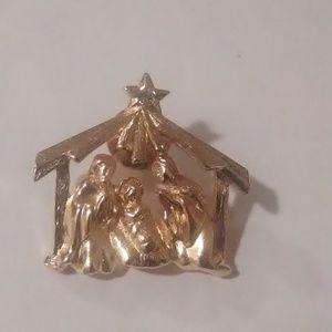 Avon nativity scene pin